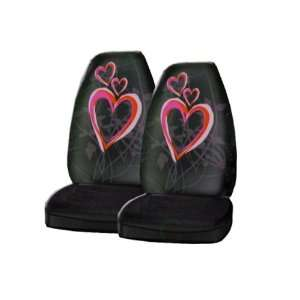 Bucket Seat Cover   Optic Art Love Hearts Pink and Red Automotive