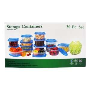 Set   15 Plastic Storage Containers with Blue Lids