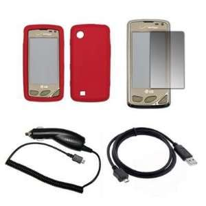 Premium Red Soft Silicone Gel Skin Cover Case + LCD Screen Protector