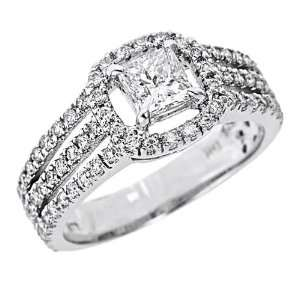 14k White Gold Natural Princess Cut Diamond Engagement Ring Split