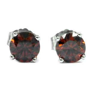 0.15 Ct Round Red Diamond 14K White Gold Stud Earrings Jewelry