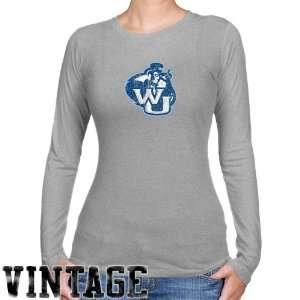 Washburn Ichabods Ladies Ash Distressed Logo Vintage Long Sleeve Slim