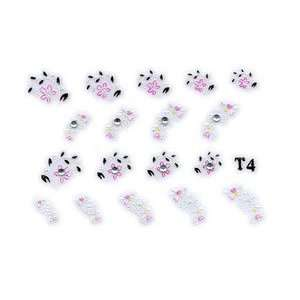 Pink & White Floral Rhinestone Nail Stickers/Decals Beauty
