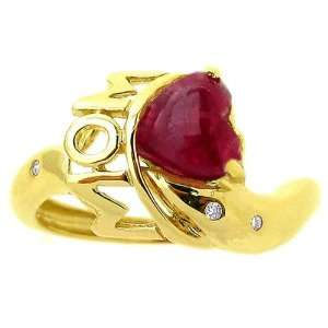 Yellow Gold Loving Moms Heart Gemstone Ring Ruby/Cabochon, size7.5