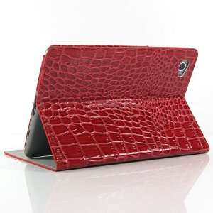 Red / Crocodile pattern Leather Stand Case for Galaxy Tab