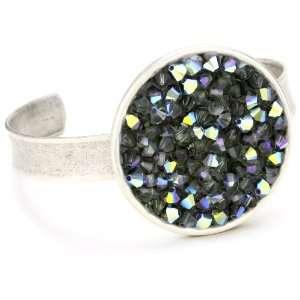 Palacios Circulo Silver Rock Crystal Circle Cuff Bracelet Jewelry