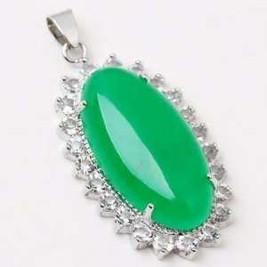 SILVER   15*30mm Green Jade Gemstone Rhinestone Oval Pendant [1piece