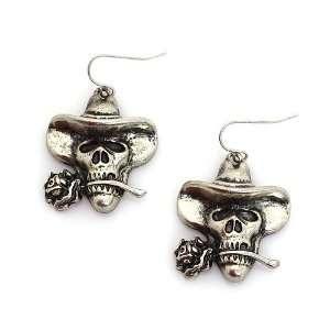 Skull Dangle Earrings ; 1.5L; Burnished Silver Metal Jewelry