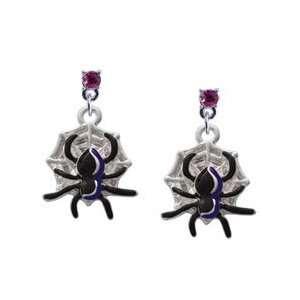 Spider Hot Pink Swarovski Post Charm Earrings Arts