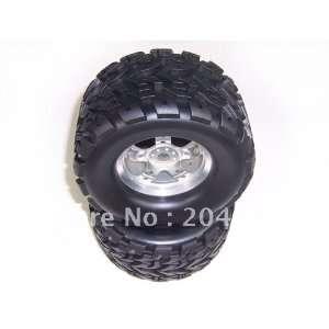 silver aluminum 5 spoke wheels + tires 1 pair whole Toys & Games