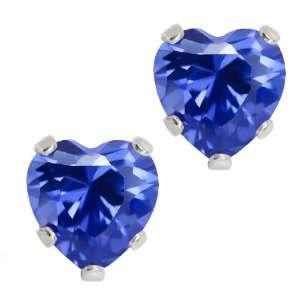 .925 Sterling Silver Tanzanite Blue CZ Heart Shape Stud Earrings 6mm