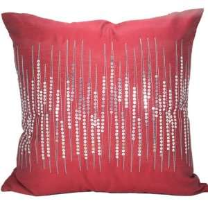 Style 18x18 Decorative Silk Throw Pillow Cover, Red
