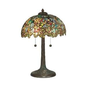 Tiffany Table Lamp, Dark Antique Bronze Verde Grn and Art Glass Shade
