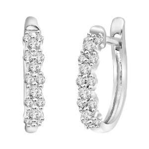 14k White Gold Diamond Hoop Earrings (1/5 cttw, H I Color
