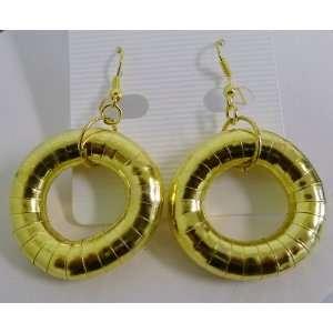 Flexible Gold Hoop Dangling Earrings on Earwire. 8mm In
