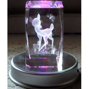 3d Laser Crystal Bambi the Deer w/ Free Base: Home & Kitchen