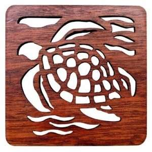 Hawaiian Laser Cut Wood Trivets Honu Set of 2 Kitchen & Dining