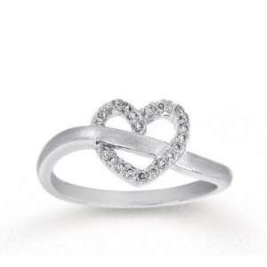 1/10 Carat Diamond 14k White Gold Heart Ring Jewelry