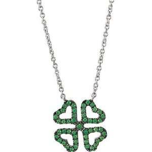 Clover Pendant With Green Tsavorite Garnets in 14 kt White Gold   FREE
