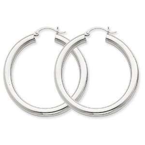 14k 4mm White Gold Hoop Earrings West Coast Jewelry
