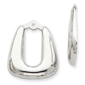 14k White Gold Polished Hoop Earrings Jackets West Coast