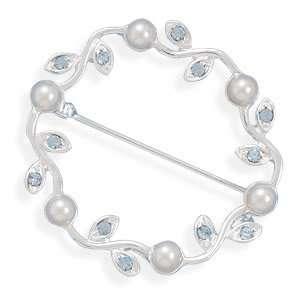 Wavy Circle Fashion Pin with Blue Swarovski Crystals and