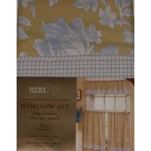 Home Trends Yellow & Blue Marianna Floral Window Curtain Set Tiers