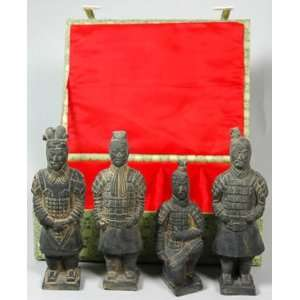 Set of 4 Terra Cotta Warriors Figurines in Hard Casing Box