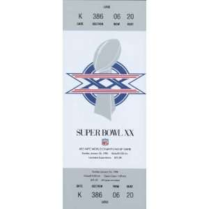 Collectible Phone Card 10m Super Bowl XX Ticket Repl. Chicago Bears