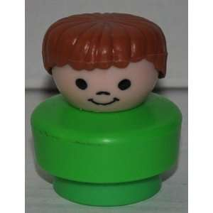 Little People Light Brown Hair School Boy with Green Base (1990) (Fat