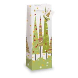 Tall Xmas Trees Wine Bottle Gift Bag with Rope Handle