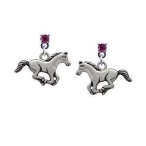 Running Horse Hot Pink Swarovski Post Charm Earrings Arts