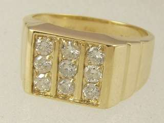 SOLID GOLD MENS ANY FINGER / PINKY CLASSIC SQUARE 1.00 CARAT DIAMOND