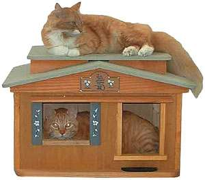 Kittys Perfect Bungalow Wooden Outdoor Cat House CatsPlay Fun