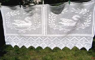 Antique Hand Crocheted Lace Curtain Panel w SWANS