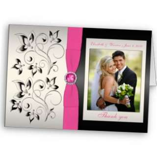 Pink Black Silver Floral Wedding Invitation from Zazzle