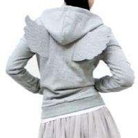 New Womens Angel Wings Zip Up Hoodie Winged Hoody Gray Grey Black XS S