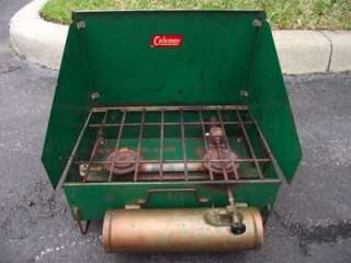 Antique Coleman 425 2 Burner Gas Stove with circular brass fount