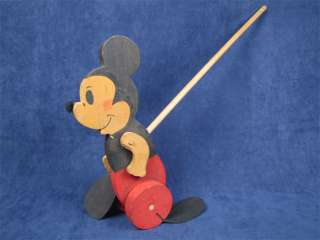 Vintage Mickey Mouse Folk Art Wheeled Wooden Push Toy