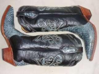 NEW FERRINI Black Blue ALL Leather Python Western Cowboy Womens Boots