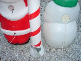 Vintage Christmas Blow Molds Santa Snowman Plastic Yard Decor USA