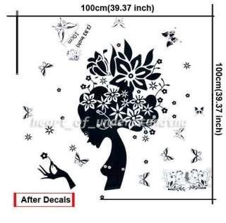 Beautiful Butterfly Flower Girl Art Mural Wall Decal Sticker Vinyl