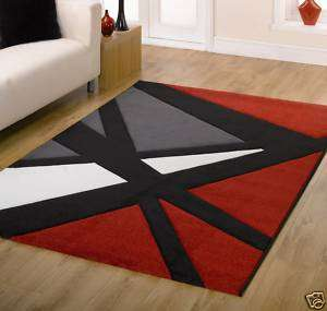 NEW MODERN RED BLACK GREY IVORY CARVED RUGS 120X160CM