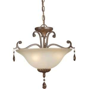 Forte Lighting Three Light Convertible Pendant with Umber Shade Decor