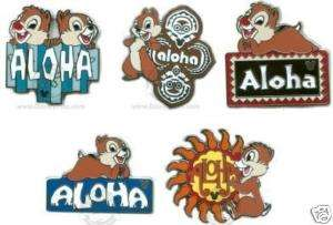 Disney Chip & Dale Aloha Five Pin Hidden Mickey Set