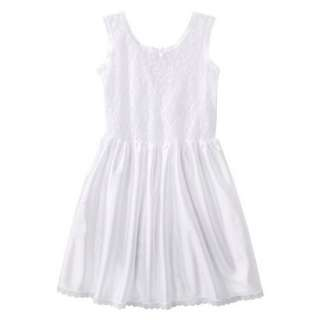 Girls Lace Nylon Full Slip   White.Opens in a new window