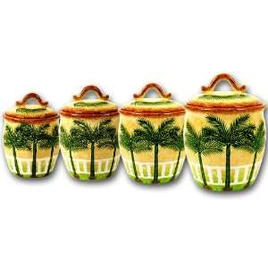 Ceramic Palm Tree Table Top Canisters Set of 4 Piece Canisters