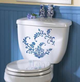 Blue Floral Country French Decals Rectangle Bathroom Home Decor Accent