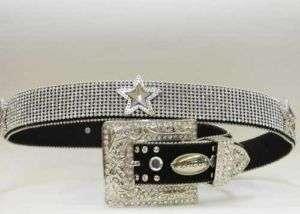 Crystal Rhinestone Star Concho Black Western Belt L
