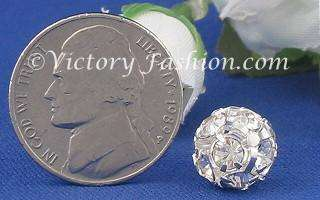 152 10mm Silver tone Crystal Rhinestone Ball Button